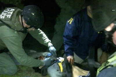 An ATF Medic places a King Airway to secure a bombing suspect's airway in Boston.